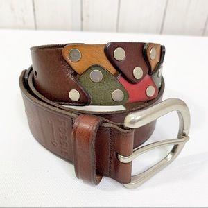 {Fossil} Leather Rivet Connectors Chocolate Belt
